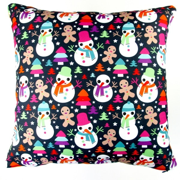 Artisan Pillows 17-inch Christmas Snow Man and Ginger Bread Man Indoor Holiday Throw Pillow