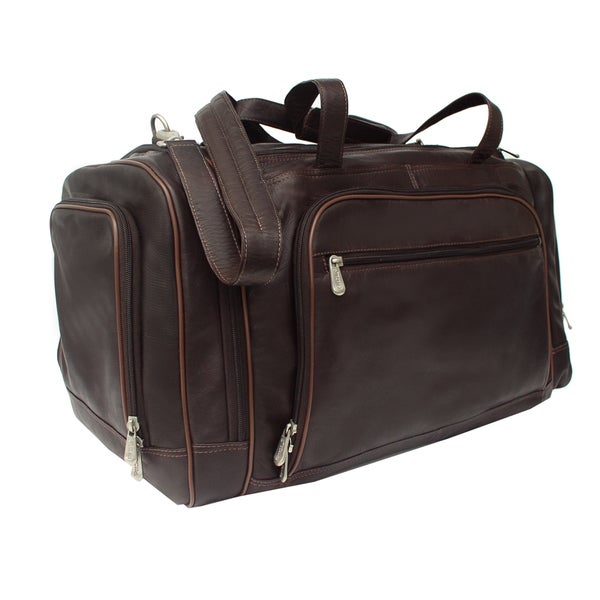 Piel Leather 20-inch Carry On Multi-Compartment Duffel Bag