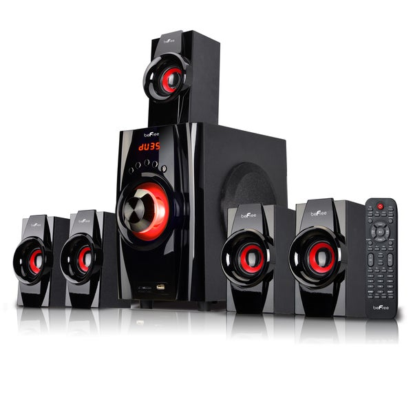 beFree Sound Red 5.1 Channel Surround Sound Bluetooth Speaker System