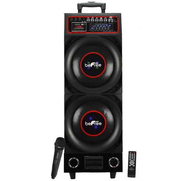 beFree Sound Double Subwoofer Bluetooth Portable Speaker with USB-SD-FM Radio