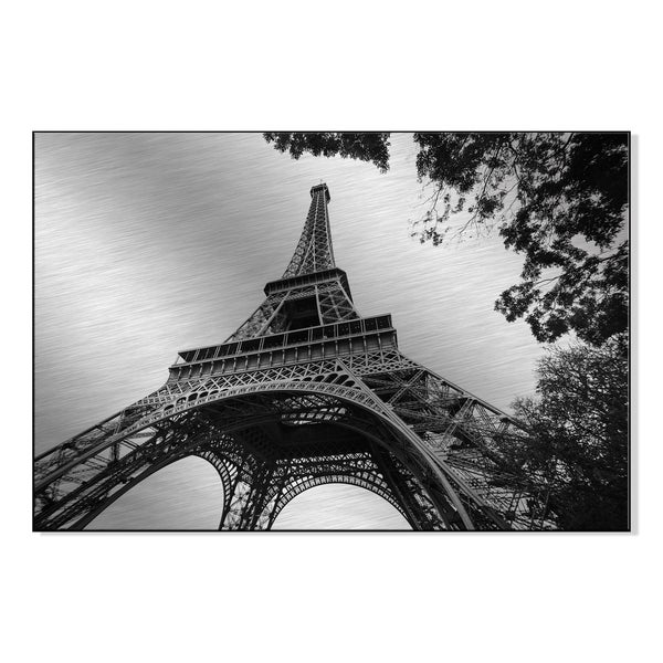 The eiffel tower in black and white, Paris Print on Mounted Metal Wall Art