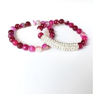 Pretty Little Style Rhinestone Pink agate Bracelet Set