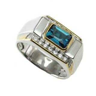 One-of-a-kind Michael Valitutti London Blue Topaz & CZ Mens Ring