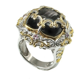 One-of-a-kind Michael Valitutti Hypersthenes & Pink Sapphire Ring