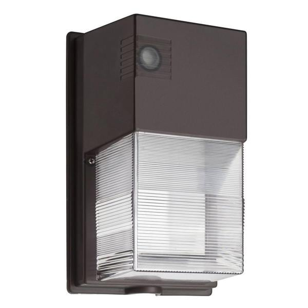 Lithonia Lighting Outdoor Bronze 5000K LED Mini Wall Pack with Dusk to Dawn Photocell