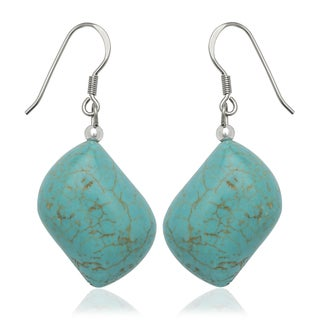 Sterling Silver Free Form Turquoise Drop Wire Earrings