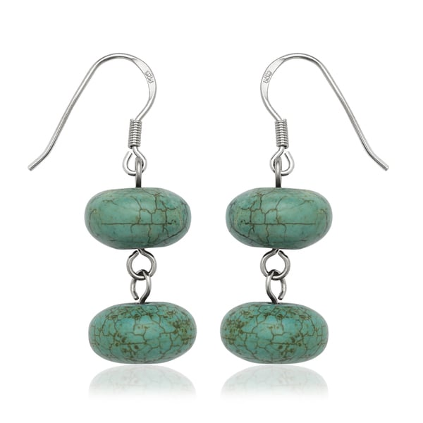 Sterling Silver Double Disc Blue Turquoise Drop Wire Earrings