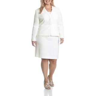 Tahari Arthur S. Levine Women's Plus Size White 2-Piece Skirt Suit