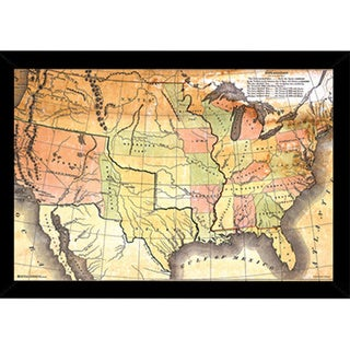 Antique USA Map Print with Contemporary Poster Frame (36 x 24)