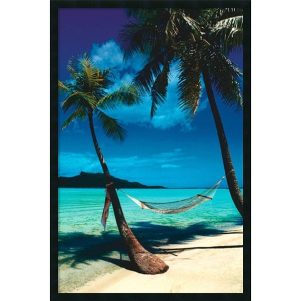 Peaceful Beaches' Framed Art Print with Gel Coated Finish 25 x 37-inch