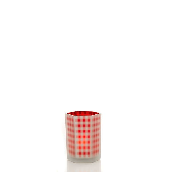 """Classic Christmas Collection 5"""" Hex Gingham Candle Holder Pack of 6"""