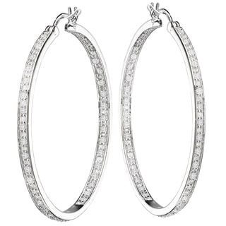 Avanti Sterling Silver 2 3/4ct TGW In And Out Cibic Zirconia Hoop Earrings