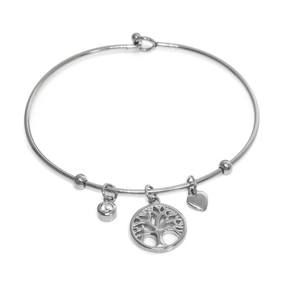 Eternally Haute Tree of Life Heart Charm Bangle