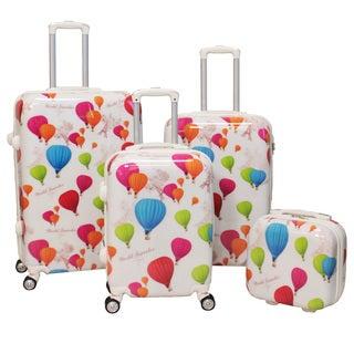World Traveler Hot Air Balloon 4-piece Lightweight Hardside Spinner Luggage Set