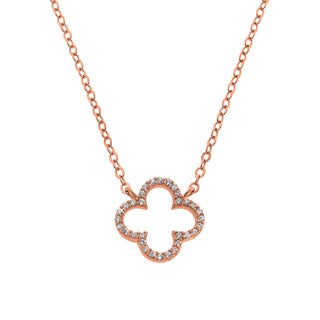 Eternally Haute 14k Rose Gold Plated Sterling Silver Cubic Zirconia Open Clover Necklace