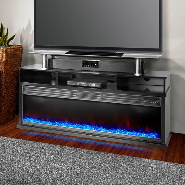 Lifesmart Lifelux Extra Large Room 60-inch Media Center Fireplace in Midnight Black with Northern Lights FX Flame Package
