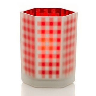 "Classic Christmas Collection 4"" Hex Gingham Candle Holder Pack of 6"