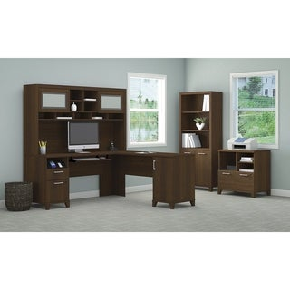L Desk with Hutch, Lateral File/Printer Stand and Bookcase