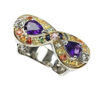 One-of-a-kind Michael Valitutti African Amethyst & Multi-Gem Infinity Ring