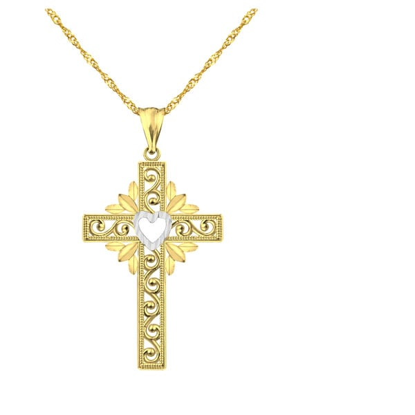 10k Yellow Gold Heart Design Cross Charm Pendant