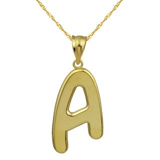 10K High Polished Bold Initial A Pendant