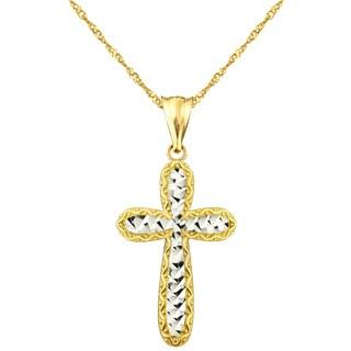 10k Yellow Gold Diamond Cut Cross Charm Pendant