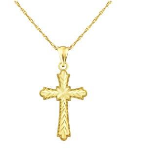 10k Yellow Gold Diamond-cut Cross Charm Pendant