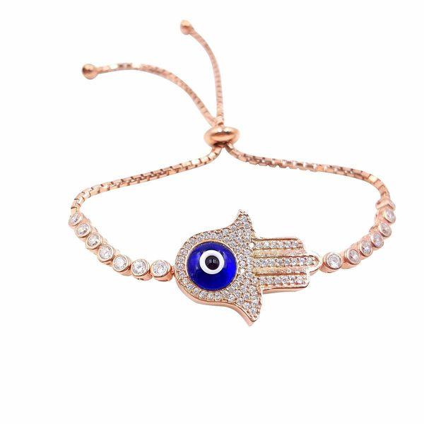 Rose 14k Gold over Silver Evil Eye Hamsa Cubic Zirconia Bracelet