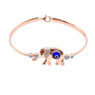 Rose 14k Gold over Silver Evil Eye Elephant Cubic Zirconia Bracelet