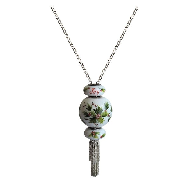 Holly Hand-Painted Beads on Silver Tassel Chain