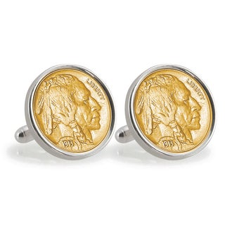 American Coin Treasures Gold-Layered 1913 First-Year-of-Issue Buffalo Nickel Sterling Silver Cuff Links