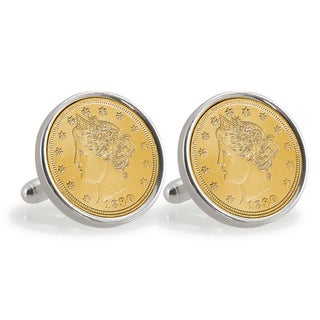 American Coin Treasures Gold-Layered 2005 Bison Nickel Sterling Silver Cuff Links