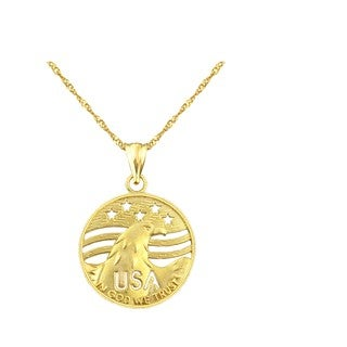 10k Yellow Gold USA with Eagle Charm Pendant