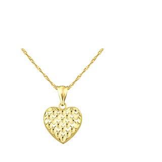 10k Yellow Gold Diamond-cut Heart Charm Pendant