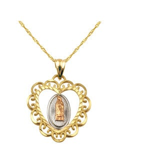 10k Tricolor Miraculous Virgin Mary Charm Pendant
