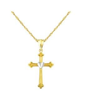10k Yellow Cross with Center Heart Charm Pendant