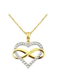 10k Yellow Gold Infinity Heart Charm Pendant
