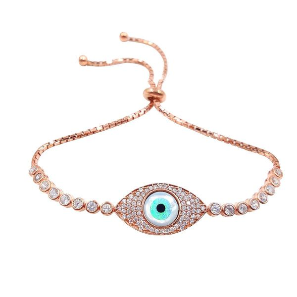 Rose 14k Gold over Silver Evil Eye Cubic Zirconia Bracelet