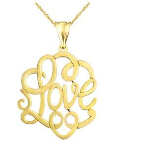 "10k Yellow Gold """"LOVE"""" Charm Pendant"
