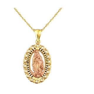 10k Yellow Gold Virgin Mary Oval Medallion Charm Pendant