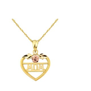 10k Yellow Gold MOM with Flower Heart Charm Pendant