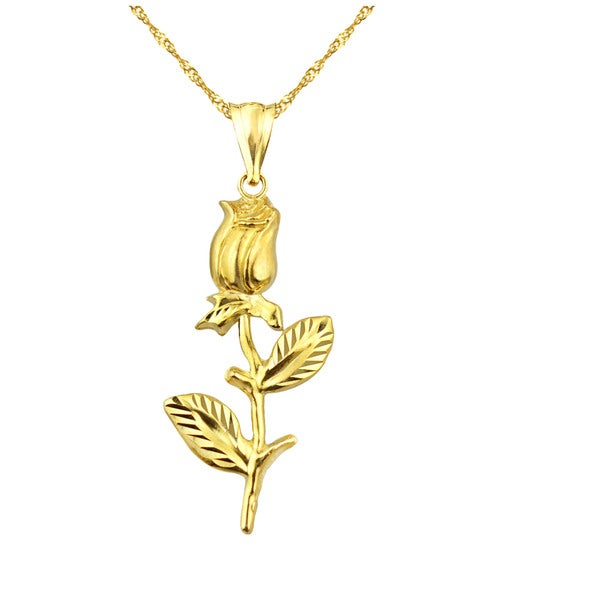 10k Yellow Gold Valentine's Day Rose Charm Pendant