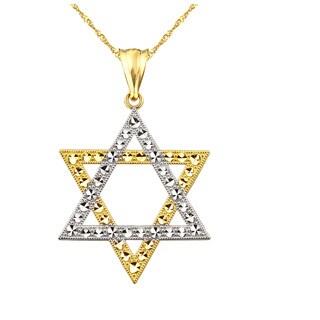 10k Yellow Gold Star of David Charm Pendant