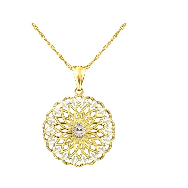 10k Yellow Gold Antique Filigree Disc Charm Pendant