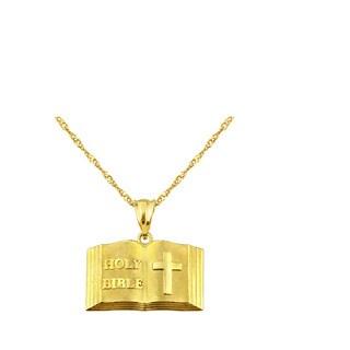 10k Yellow Gold Bible Charm Pendant