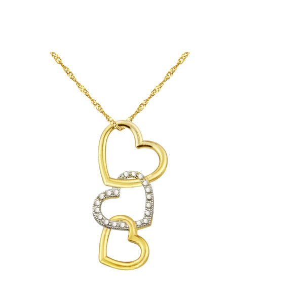 10k Yellow Gold Floating Hearts Charm Pendant