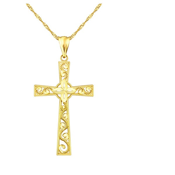 10k Yellow Gold Filigree Cross Charm Pendant
