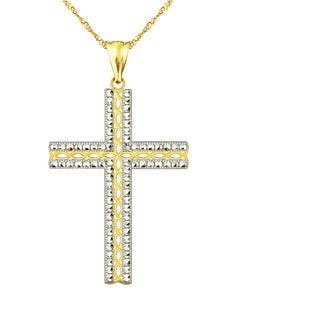 10k Yellow Diamond-cut Cross Charm Pendant