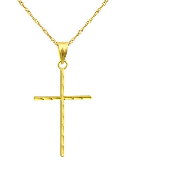 10k Yellow Gold Diamond-cut Stick Cross Charm Pendant