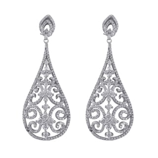 Sterling Silver Micropave Cubic Zirconia Filigree Teardrop Dangle Earrings